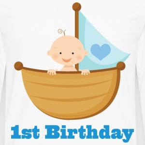 1st Birthday Boy Kids T-shirt (Sailboat) - Men's Premium Long Sleeve T-Shirt