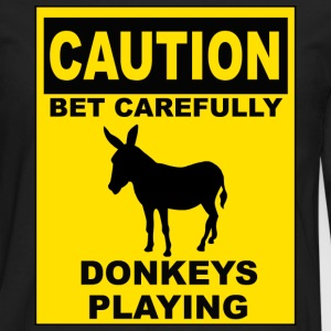POKER: CAUTION Donkeys Playing T-Shirts - Men's Premium Long Sleeve T-Shirt