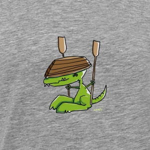 Funny dinosaur with a rowing boat Long Sleeve Shirts - Men's Premium T-Shirt