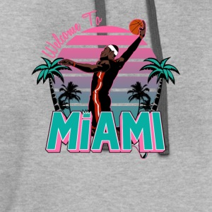 VICTRS Welcome to Miami Gray South Beach Shirt - Contrast Hoodie