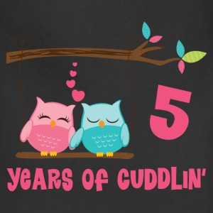 5th Anniversary Cuddling Owls Women's T-Shirts - Adjustable Apron