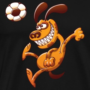 Dog Heading a Soccer Ball Long Sleeve Shirts - Men's Premium T-Shirt