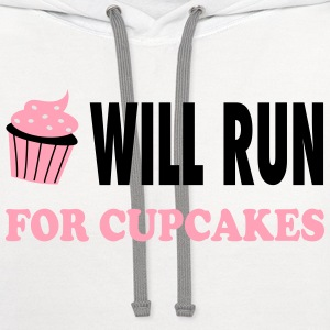 Will Run For Cupcakes - Workout Inspiration Women's T-Shirts - Contrast Hoodie