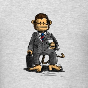 The Business Monkey drinks a coffee to go Long Sleeve Shirts - Men's T-Shirt
