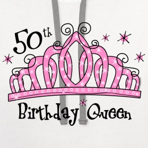 Tiara 50th Birthday Queen T-Shirt - Contrast Hoodie
