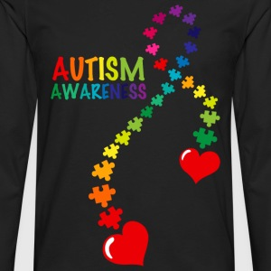 Autism Puzzle Ribbon T-Shirt - Men's Premium Long Sleeve T-Shirt