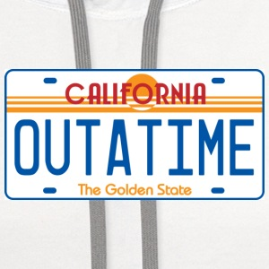 White OUTATIME License Plate T-Shirts - Contrast Hoodie