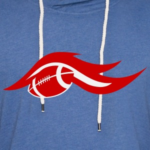Sky blue american_football_on_fire T-Shirts (Short sleeve) - Unisex Lightweight Terry Hoodie