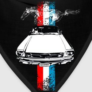 Black auto_mustang_stripes_distressed T-Shirts (Short sleeve) - Bandana