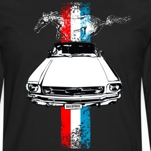 Black auto_mustang_stripes_distressed T-Shirts (Short sleeve) - Men's Premium Long Sleeve T-Shirt