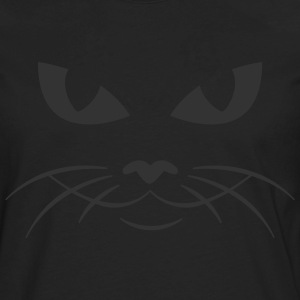 Black cat face kitty pussy T-Shirts (Short sleeve) - Men's Premium Long Sleeve T-Shirt