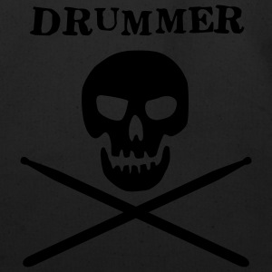 Black drummer skull T-Shirts (Short sleeve) - Eco-Friendly Cotton Tote