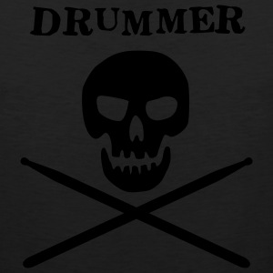 Black drummer skull T-Shirts (Short sleeve) - Men's Premium Tank