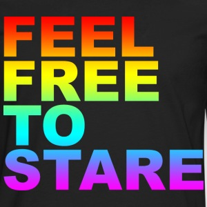 Black feel free to stare T-Shirts (Short sleeve) - Men's Premium Long Sleeve T-Shirt