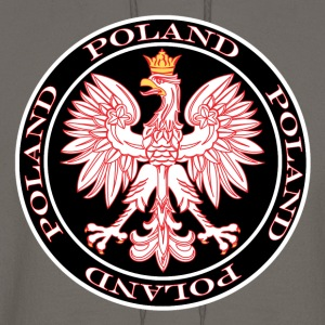 Round Poland Eagle Outlined In Red - Men's Hoodie