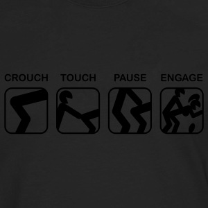Black Crouch, Touch, Pause, Engage T-Shirts - Men's Premium Long Sleeve T-Shirt
