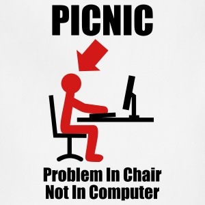 PICNIC - Problem in Chair, not in Computer - Computer - Admin T-Shirts White - Adjustable Apron