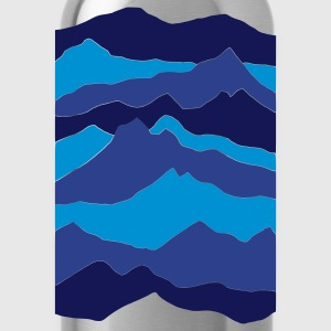 Royal blue mountains - nature - waves - water Kids' Shirts - Water Bottle