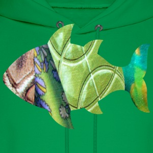 Kelly green collage art FISH (greens) Kids' Shirts - Men's Hoodie