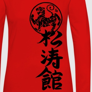 Red Shotokan Karate Kanji Calligraphy T-Shirts - Women's Premium Long Sleeve T-Shirt
