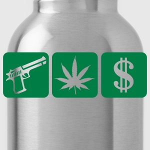 Black guns weed cash T-Shirts - Water Bottle