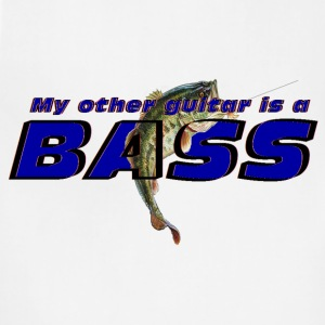'My other guitar is a BASS' funny fish logo shirt - Adjustable Apron