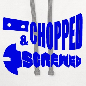 White Chopped & Screw T-Shirts - Contrast Hoodie