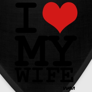 Black i love my wife by wam T-Shirts - Bandana
