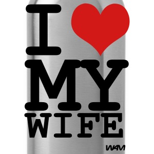 Black i love my wife by wam T-Shirts - Water Bottle