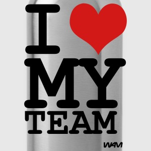 Black i love my team by wam T-Shirts - Water Bottle