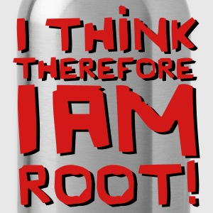 Black I Think Therefore I Am Root! T-Shirts - Water Bottle