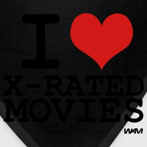 Black i love x rated movies by wam T-Shirts - Bandana