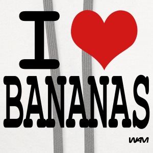 White i love bananas by wam T-Shirts - Contrast Hoodie