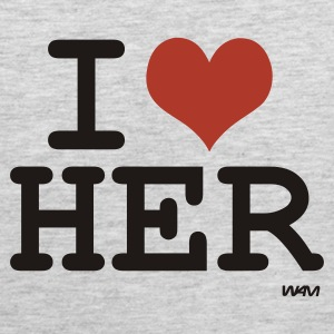 Heather grey i love her by wam T-Shirts - Men's Premium Tank