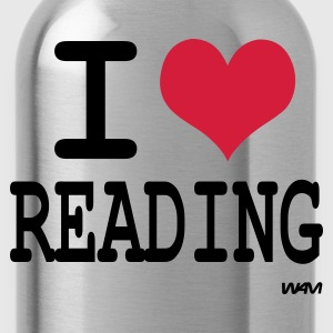 Black i love reading by wam T-Shirts - Water Bottle