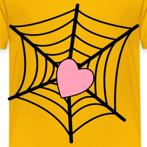 Yellow web with heart Kids' Shirts - Toddler Premium T-Shirt