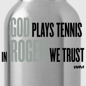 Navy GOD plays tennis T-Shirts - Water Bottle