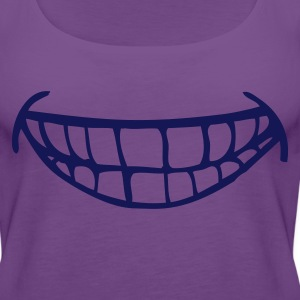 Purple cheesy smile with teeth T-Shirts - Women's Premium Tank Top