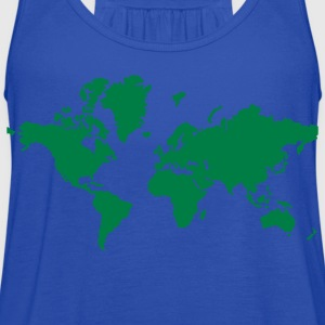 Turquoise World Map Kids' Shirts - Women's Flowy Tank Top by Bella