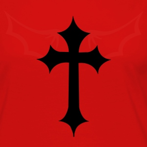 Red gothic cross with devil evil wings T-Shirts - Women's Premium Long Sleeve T-Shirt