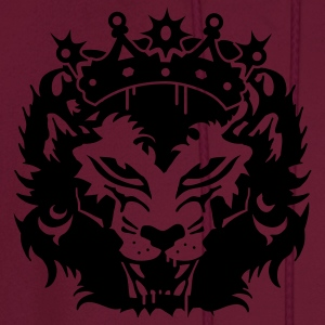Fuchsia The lion's head with crown Plus Size - Men's Hoodie