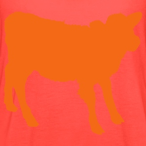 Orange young cow outline beef! T-Shirts - Women's Flowy Tank Top by Bella