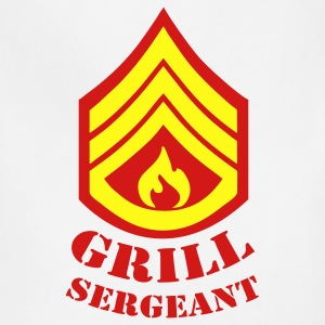 White Grill Sergeant - BBQ T-Shirts - Adjustable Apron