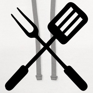 White BBQ - grill - fork T-Shirts - Contrast Hoodie