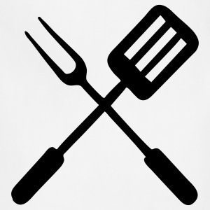 White BBQ - grill - fork T-Shirts - Adjustable Apron