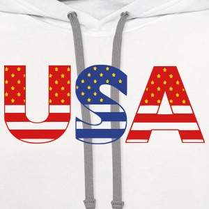 White usa Plus Size - Contrast Hoodie
