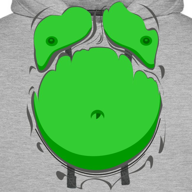 Comic Fat Belly Green, beer gut, beer belly, chest t-shirt