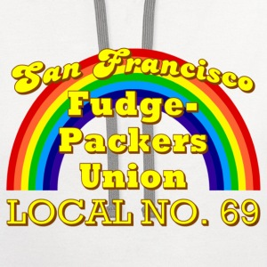 White San Francisco Fudge-Packers Union Local No. 69 T-Shirts - Contrast Hoodie