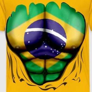 Brazil Flag Ripped Muscles, six pack, chest t-shirt - Toddler Premium T-Shirt