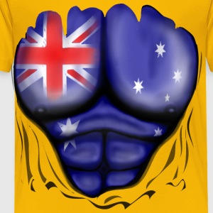 Australia Flag Ripped Muscles, six pack, chest t-shirt - Toddler Premium T-Shirt
